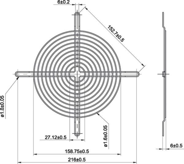 Metall-Schutzgitter fü Lüfter Ø = 180mm
