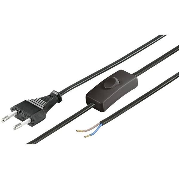 Strom Anschlusskabel schwarz 150cm Eurostecker teilisoliert