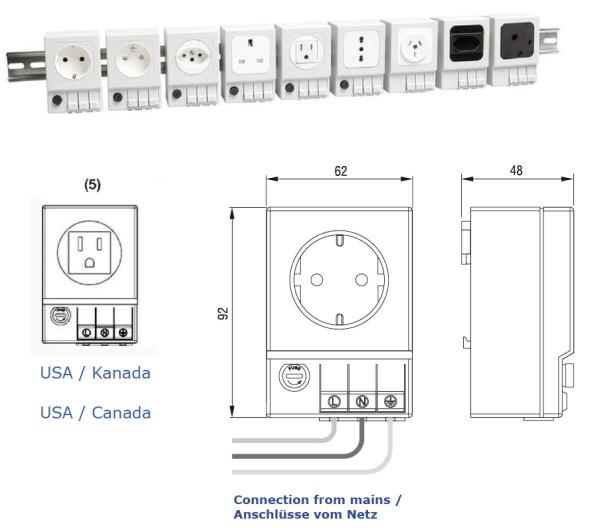 Schaltschrank-Steckdose SD 035 (USA/Kanada (5) mit Sicherung