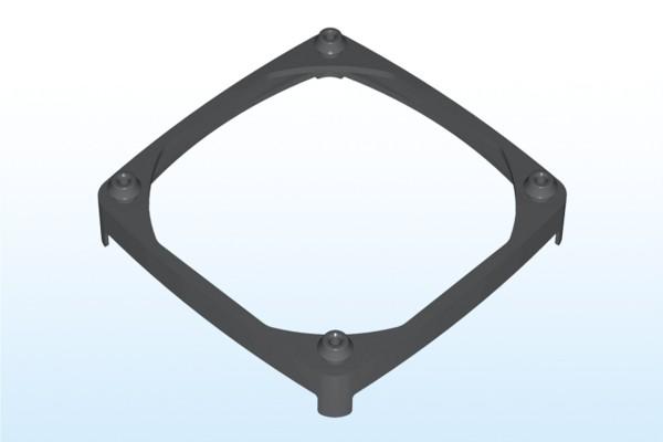 Lüftermanschette für 80x80mm Lüfter, Plattenstärke 1,5-2,5mm