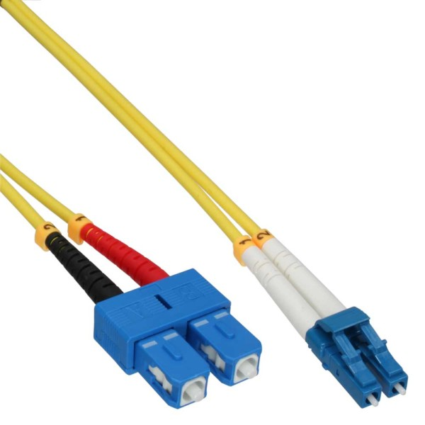 LWL Duplex Kabel, LC/SC, 9/125µm, OS2, 3m