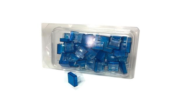 50 Kalotten Druckhauben blau transparent flach 15x15 f. geraden Kragen 18x18