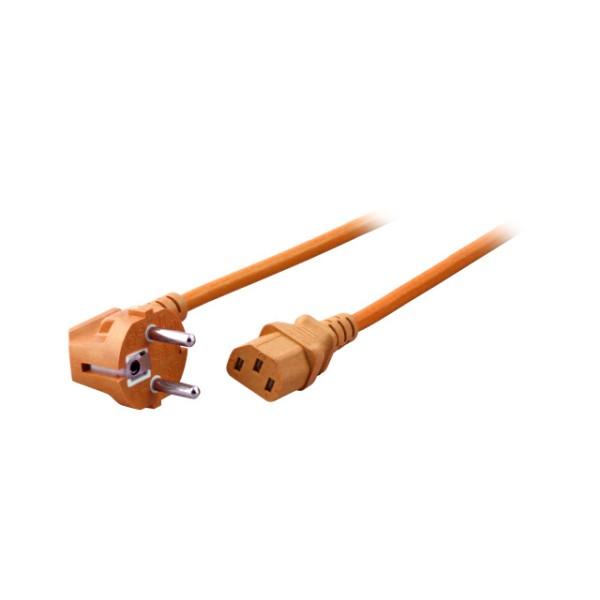 Netzkabel, Schuko abgewinkelt auf Kaltgerätestecker, 1,8m, orange