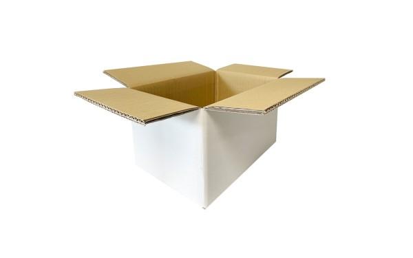 Faltkarton Wellpappe, 200x200x100mm, weiß-braun, doppelwellig