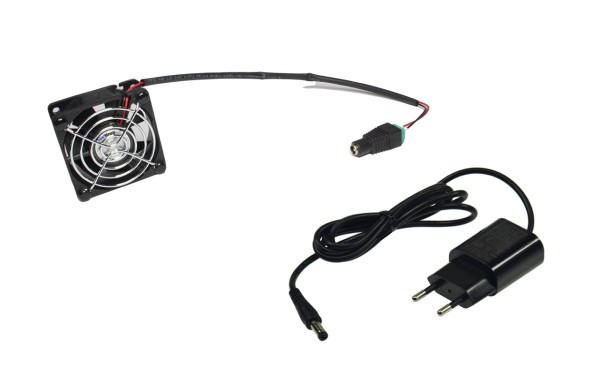 60mm Lüfter Set 12V DC mit Netzteil + Befestigungsnieten + Schutzgitter