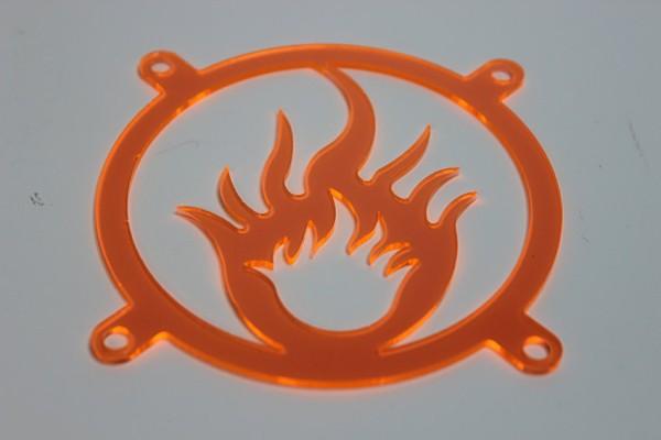 Lüftergitter Laser Cut Flames orange 80x80mm