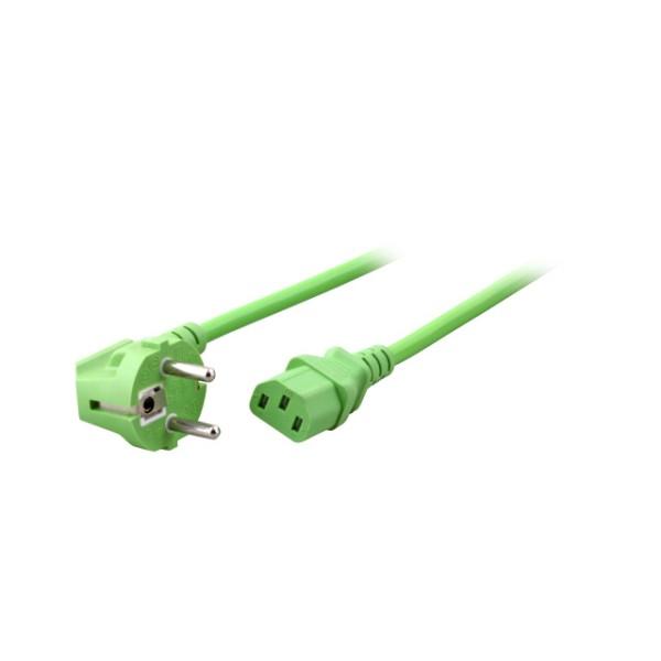 Netzkabel, Schuko abgewinkelt auf Kaltgerätestecker, 1,8m, grün