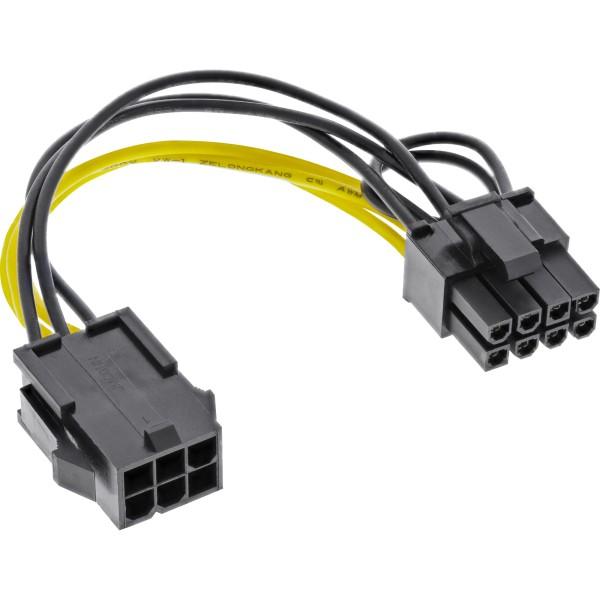 Stromadapter intern, 6pol zu 8pol für PCIe (PCI-Express) Grafikkarten, schwarz