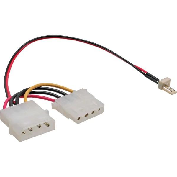 Lüfter Adapterkabel, 3pol Lüfter an 4pol Netzteil, 0,15m