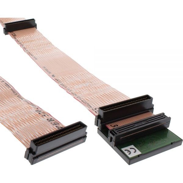 SCSI U320 Flachbandkabel, 68pol, 3 Abgriffe, für 2 Geräte, mit Terminator