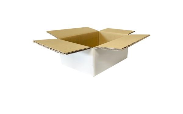 Faltkarton Wellpappe, 200x100x100mm, weiß-braun, doppelwellig