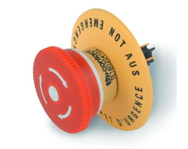 E-STOP NOT-AUS PILZSCHALTER mit Drehentrieglelung, 1Öffner+1Schließer, 250V ac