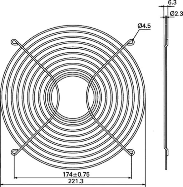 Metall-Schutzgitter für Lüfter Ø = 254mm