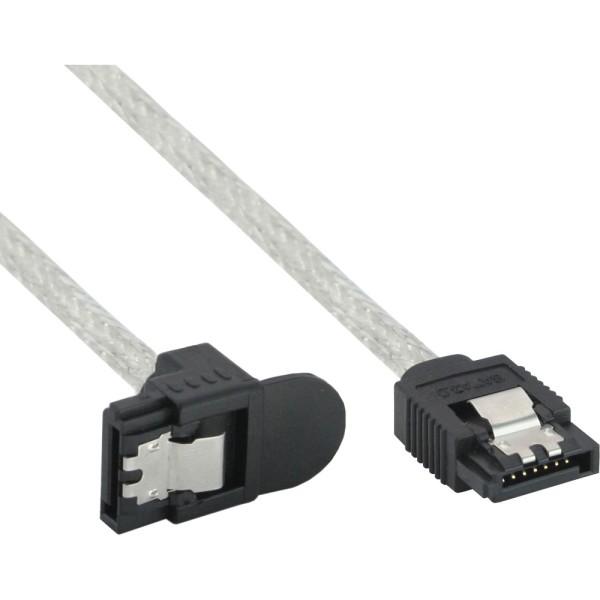 SATA 6Gb/s Kabel rund, mit Lasche, gewinkelt, 0,5m