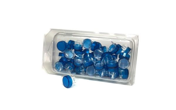 50 Kalotten Druckhauben blau transparent Ø15mm rund, f.ger.Kragen Ø18mm