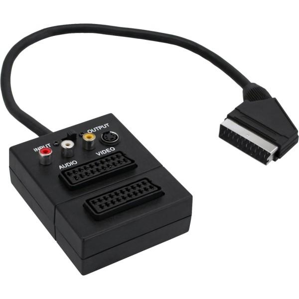 Scart Adapterkabel, Scart Stecker an 2x Scart Buche und 3x Cinch Buchse und 1x S-VHS Buchse, 0,2m