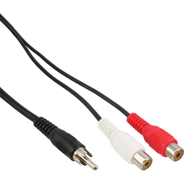 Cinch-Y-Kabel, 1x Cinch Stecker zu 2x Cinch Buchse, 0,2m