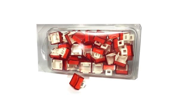 50 Kalotten Druckhauben transparent rot konkav 15x15 f. geraden Kragen 18x18