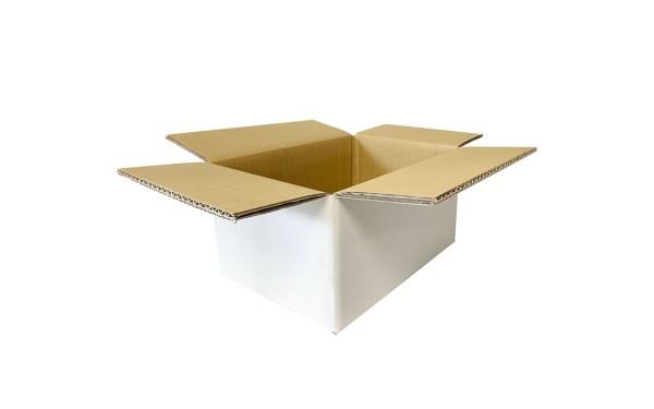 Faltkarton Wellpappe, 200x200x200mm, weiß-braun, doppelwellig
