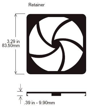 Schutzgitter, Retainer for 80mm-filter-kits 80x80xmm, plastic UL94-V0