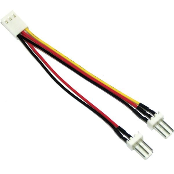 Lüfter Adapterkabel, 3pol Molex Buchse an 2x 3pol Molex Stecker, 100er Pack, bulk