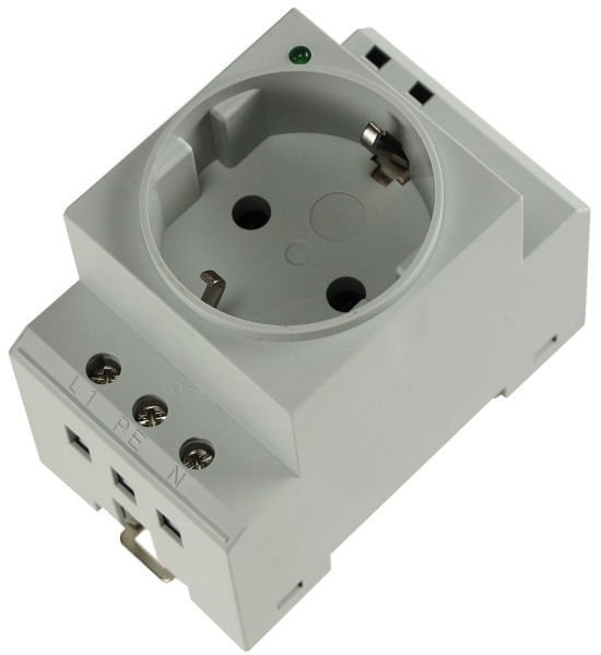 SchuKo-Steckdose für Hutschiene mit LED, 230V, 16A, VDE