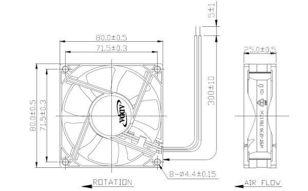 Lüfter Axial 24V DC 80x80x25mm Kugellager 3900U/min