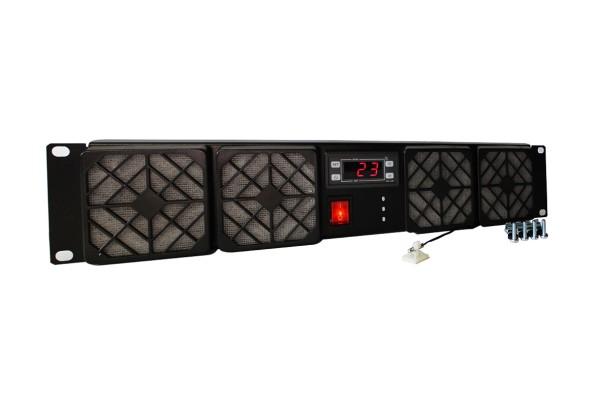 2HE Rackkühler, 4x 80x38mm Lüfter, Thermostat, 230V AC, ~168m³/h