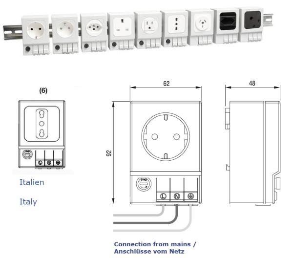 Schaltschrank-Steckdose SD 035 (Italien (6) mit Sicherung