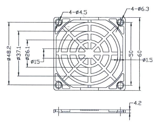 Kunststoffschutzgitter für Ventilatoren 60x60mm