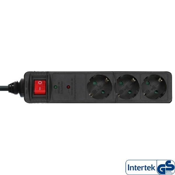 Steckdosenleiste, 3-fach Schutzkontakt, mit Überspannungsschutz, Schalter, 1,5m, schwarz